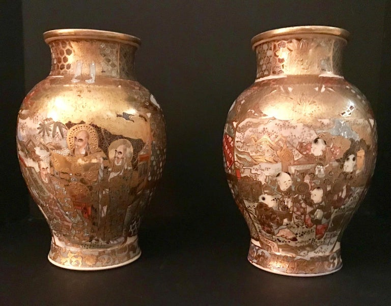 Pair of Large, Meiji Period, Japanese Satsuma Vases with Opulent Gilt For Sale 9