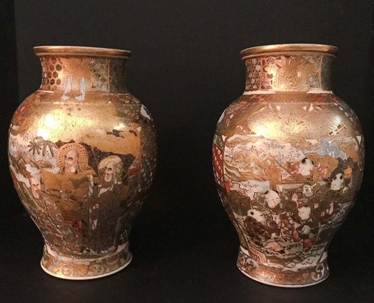 Pair of Large, Meiji Period, Japanese Satsuma Vases with Opulent Gilt For Sale 10