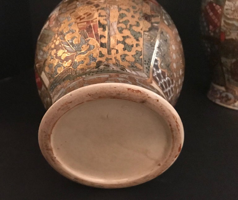 Pair of Large, Meiji Period, Japanese Satsuma Vases with Opulent Gilt For Sale 12