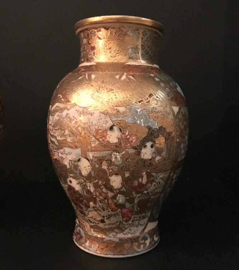 20th Century Pair of Large, Meiji Period, Japanese Satsuma Vases with Opulent Gilt For Sale