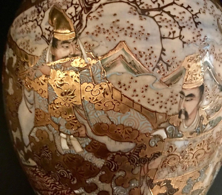 Pair of Large, Meiji Period, Japanese Satsuma Vases with Opulent Gilt For Sale 1