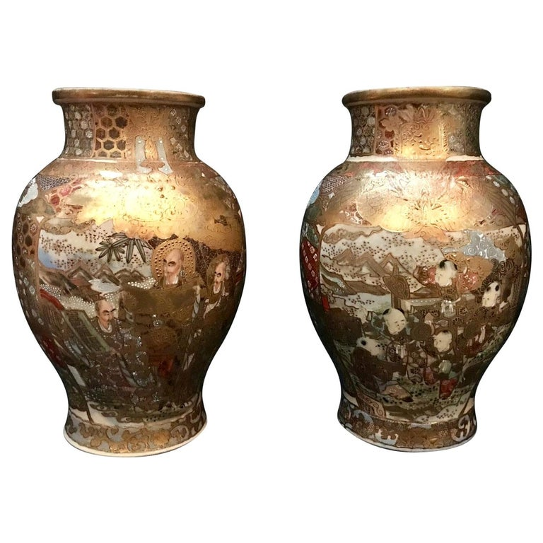 Pair of Large, Meiji Period, Japanese Satsuma Vases with Opulent Gilt For Sale