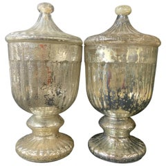 Pair of Large Mercury Glass Lidded Urns