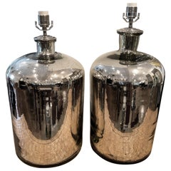 Pair of Large Mercury Glass Table Lamps
