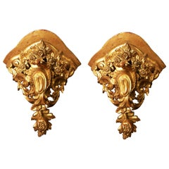 Pair of Large Mid-18th Century Venetian Rococo Gilt Corner Brackets