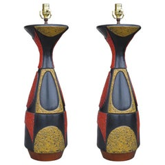 Pair of Large Mid-20th Century Pottery Lamps