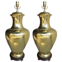Pair of Large Mid-20th Century Urn Shaped Brass Lamps
