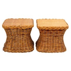 Pair of Large Mid Century Bamboo Square Side Tables