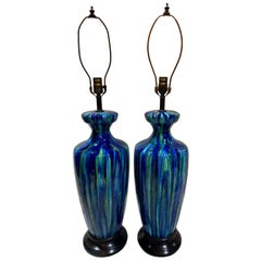 Pair of Large Midcentury Blue Porcelain Lamps