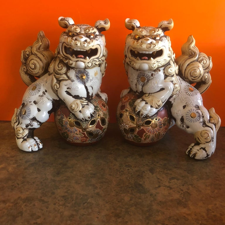Pair of Large Midcentury Chinese Ceramic Foo Dogs For Sale 8