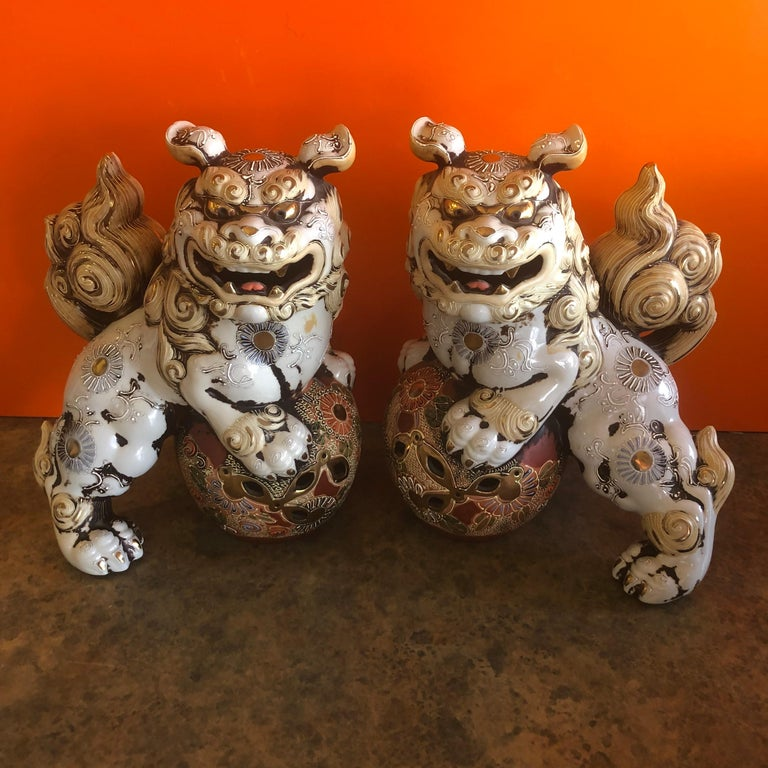 Mid-Century Modern Pair of Large Midcentury Chinese Ceramic Foo Dogs For Sale