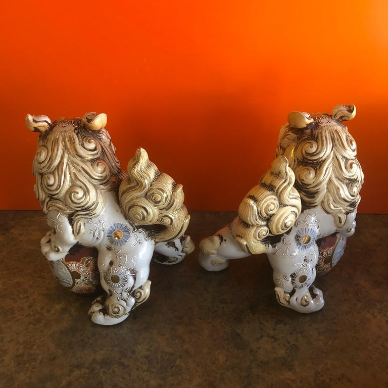 Pair of Large Midcentury Chinese Ceramic Foo Dogs For Sale 2