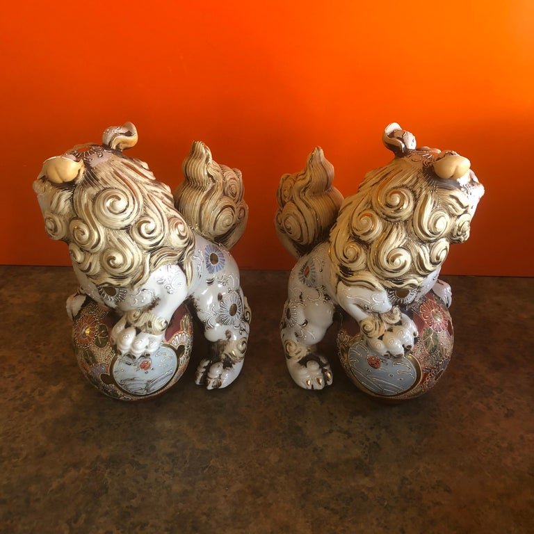 Pair of Large Midcentury Chinese Ceramic Foo Dogs For Sale 3