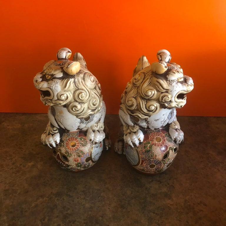 Pair of Large Midcentury Chinese Ceramic Foo Dogs For Sale 4