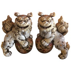 Pair of Large Midcentury Chinese Ceramic Foo Dogs
