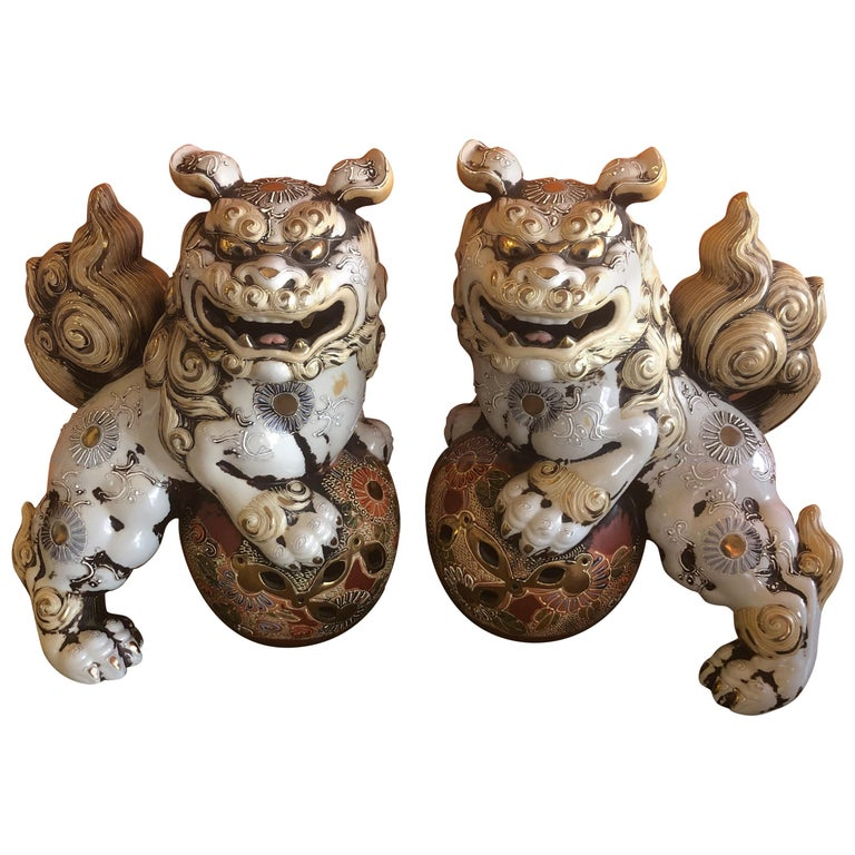Pair of Large Midcentury Chinese Ceramic Foo Dogs For Sale