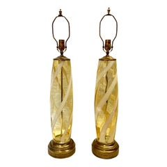 Pair of Large Midcentury Glass Lamps