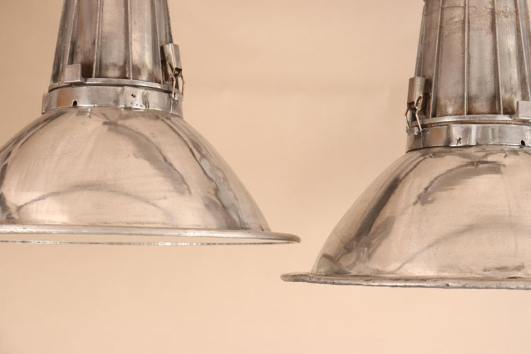 Unknown Pair of Large Midcentury Industrial Aluminum Pendant Lights For Sale
