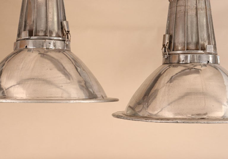 Pair of Large Midcentury Industrial Aluminum Pendant Lights In Good Condition For Sale In Heath, MA