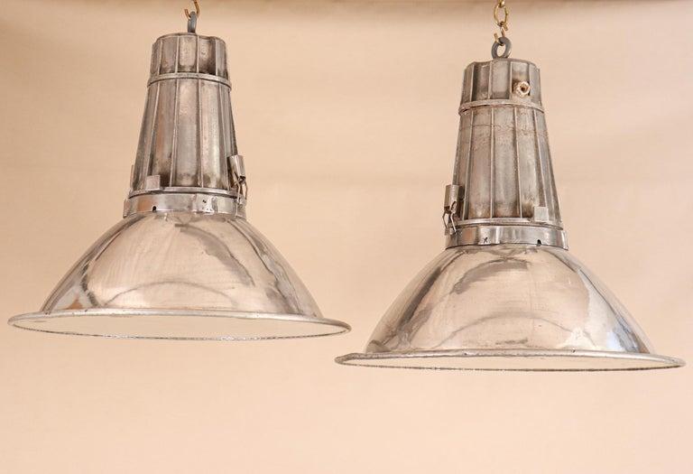 20th Century Pair of Large Midcentury Industrial Aluminum Pendant Lights For Sale