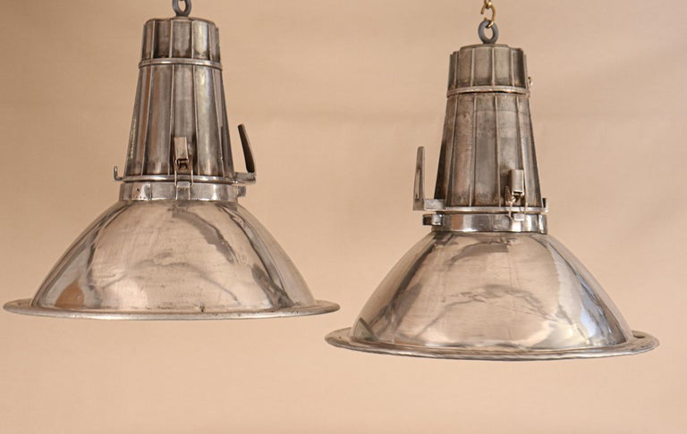 Pair of Large Midcentury Industrial Aluminum Pendant Lights For Sale 1