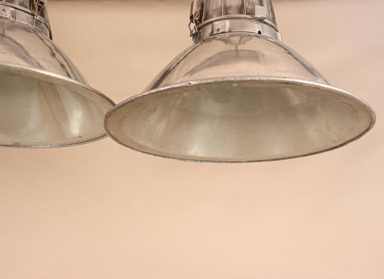 Pair of Large Midcentury Industrial Aluminum Pendant Lights For Sale 2