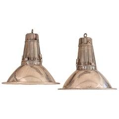 Pair of Large Midcentury Industrial Aluminum Pendant Lights