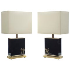 Pair of Large Midcentury J.C. Mahey Black Lacquer and Brass Table Lamps, 1970s