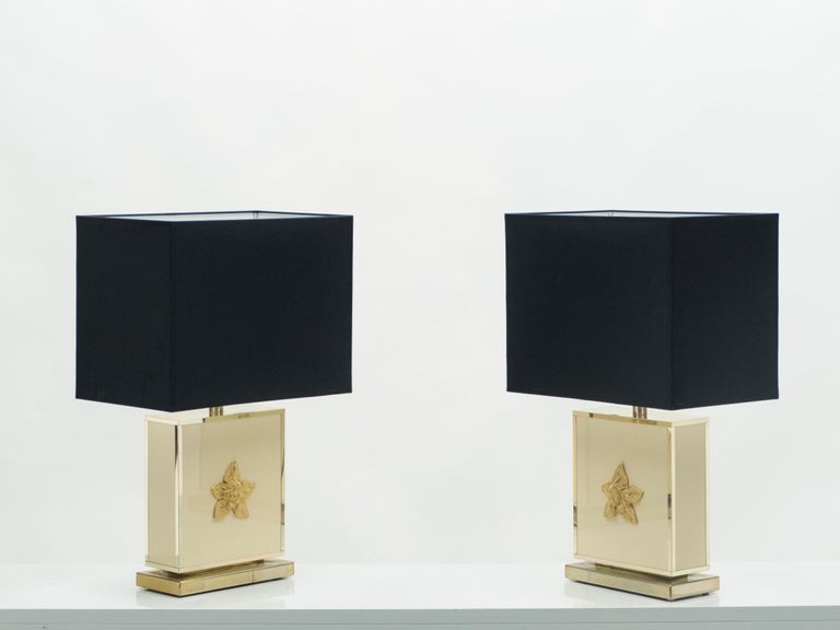 Mid-Century Modern Pair of Large Midcentury J.C. Mahey White Lacquer Brass Table Lamps, 1970s For Sale