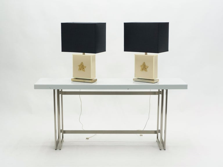 French Pair of Large Midcentury J.C. Mahey White Lacquer Brass Table Lamps, 1970s For Sale