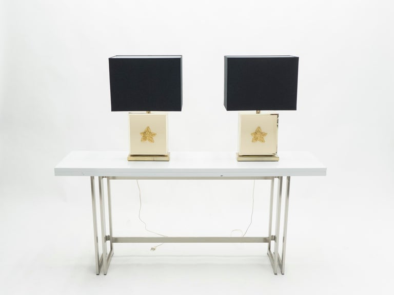Late 20th Century Pair of Large Midcentury J.C. Mahey White Lacquer Brass Table Lamps, 1970s For Sale