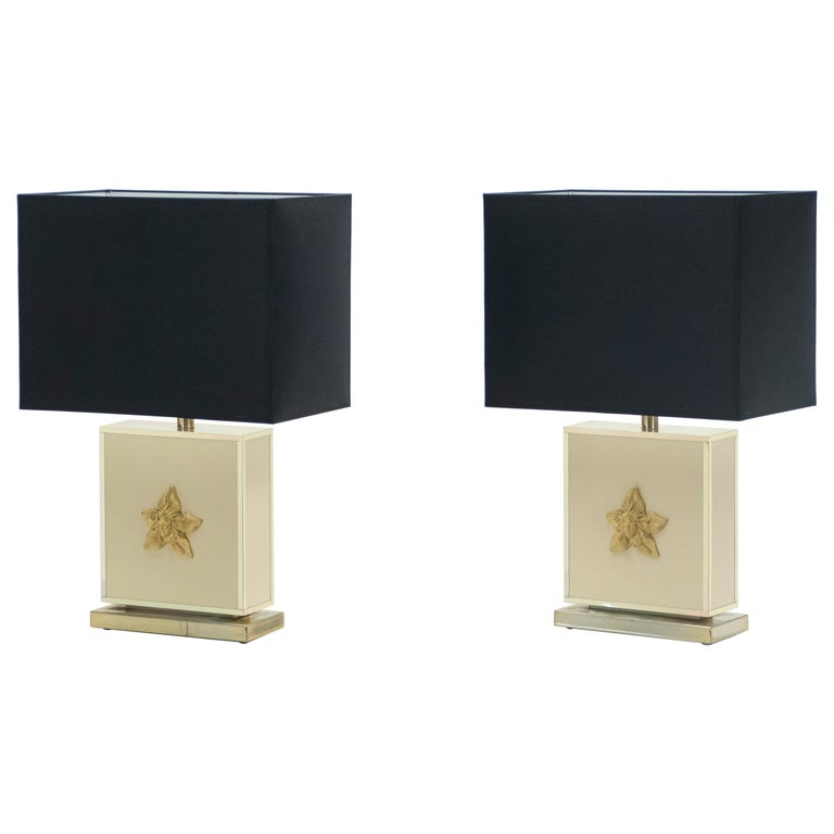 Pair of Large Midcentury J.C. Mahey White Lacquer Brass Table Lamps, 1970s For Sale