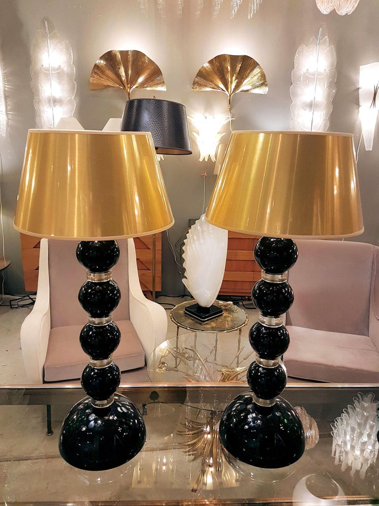 Pair Of Large Mid Century Modern Black And Gold Murano Glass Table Lamps 1970s