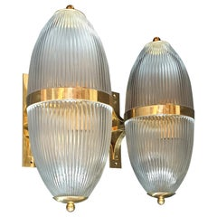 Pair of Large Mid-Century Modern Clear Glass & Brass Italian Sconces or Lanterns