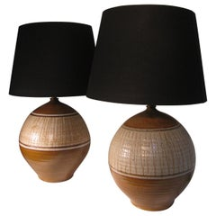 Pair of Large Italian Mid-Century Modern Hand Thrown Pottery Table Lamps