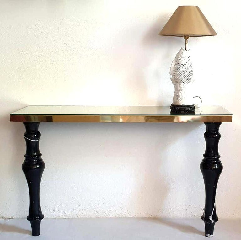 Pair of Large Mid-Century Modern Italian Black Marble and Brass Console Tables In Excellent Condition For Sale In Dallas, TX