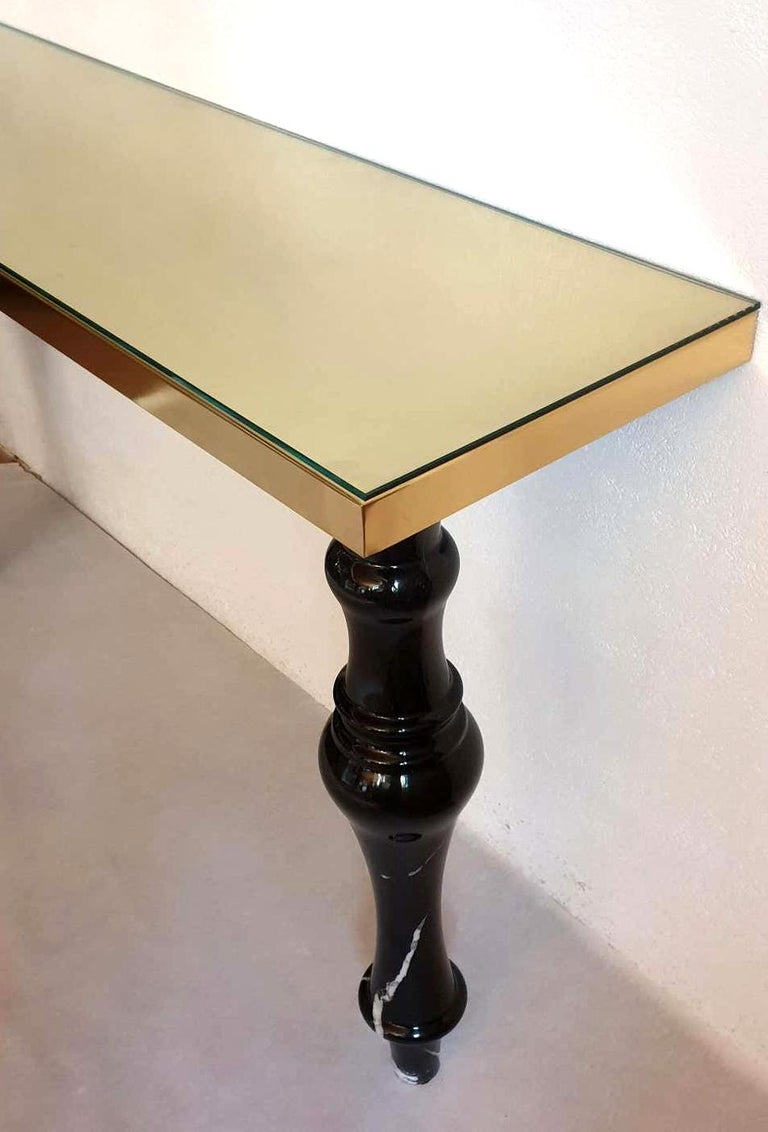Pair of Large Mid-Century Modern Italian Black Marble and Brass Console Tables For Sale 4