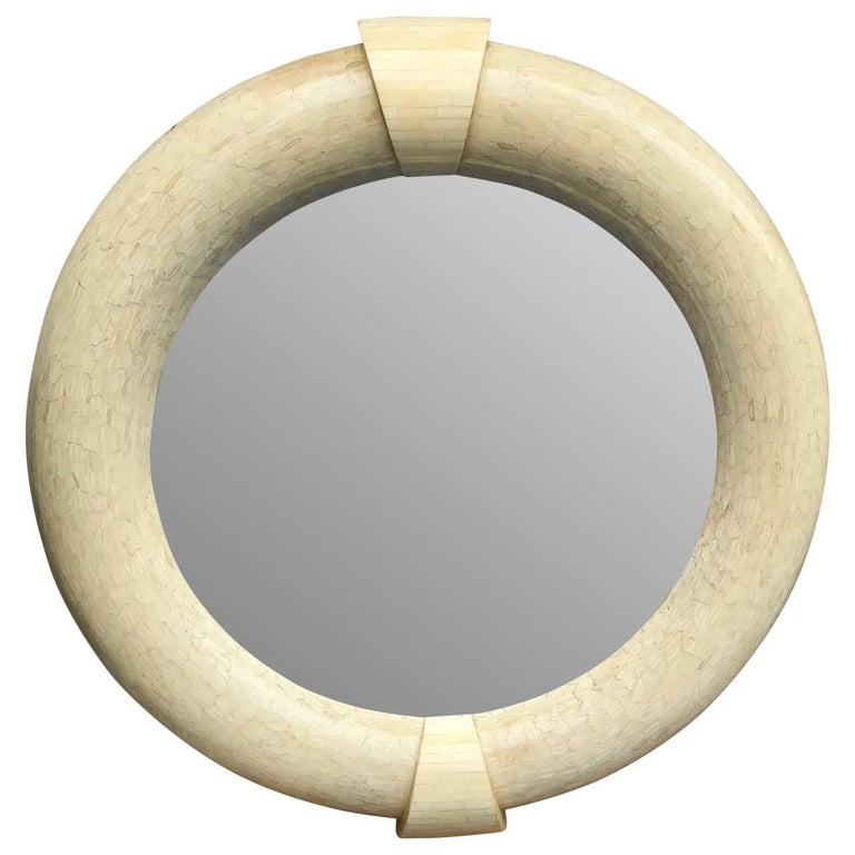 Antler Pair Of Large Karl Springer Tessellated Round Mirrors, Mid-Century Modern For Sale