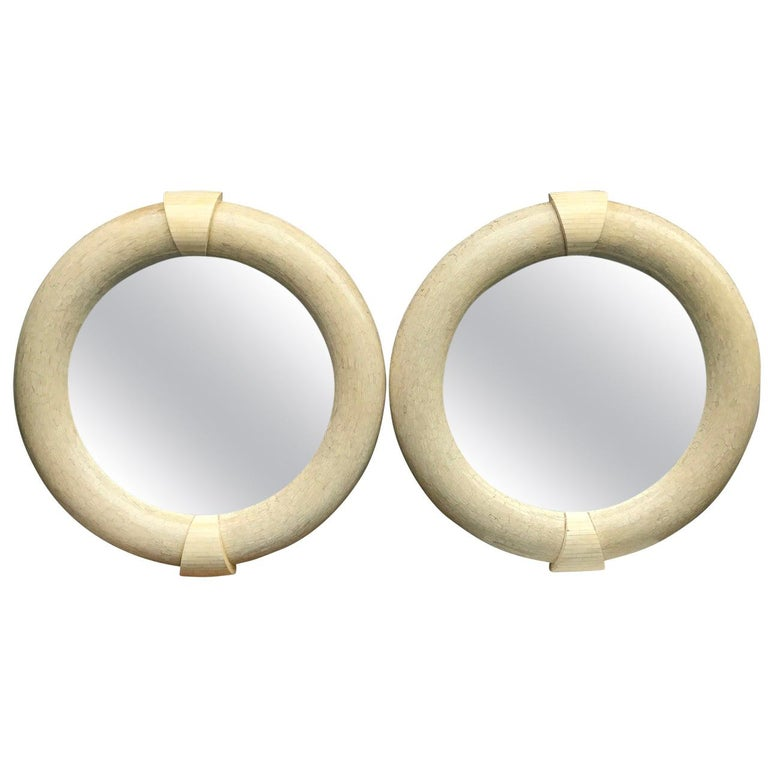Pair Of Large Karl Springer Tessellated Round Mirrors, Mid-Century Modern For Sale