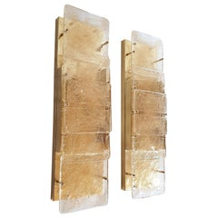 Pair of Mid-Century Modern Murano Glass Wall Sconces Attributed to Mazzega 1970s