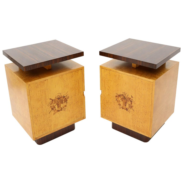 Pair Of Large Mid Century Modern Rosewood And Birdseye Maple Cabinets End Tables For