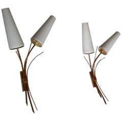 Pair of Large Mid-Century Modern Sconces by Maison Lunel, France, 1950