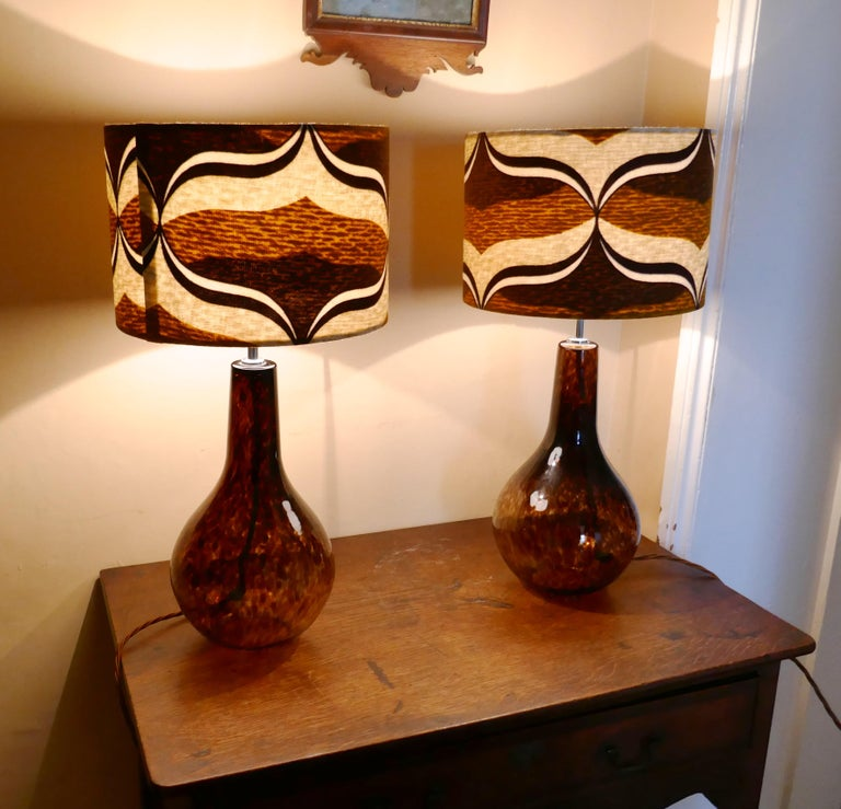 Pair Of Large Mid Century Modern Splatter Glass Lamps With