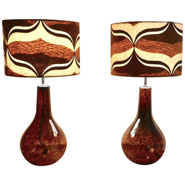 Pair Of Large Mid Century Modern Splatter Gl Lamps With Retro Lamp Shades For