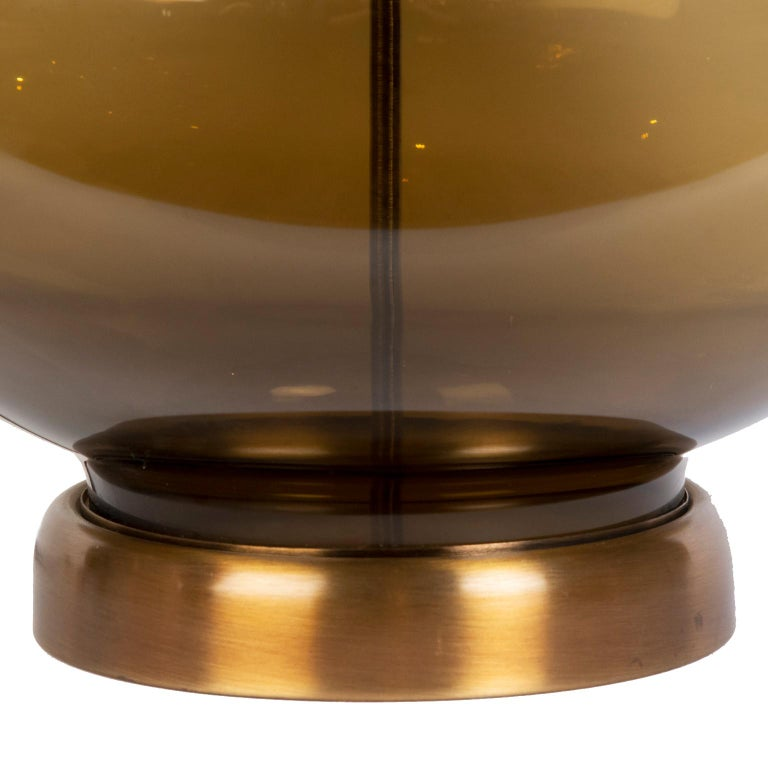 American Pair of Large Mid-Century Modern Urn Shaped Smoked Glass Lamps For Sale