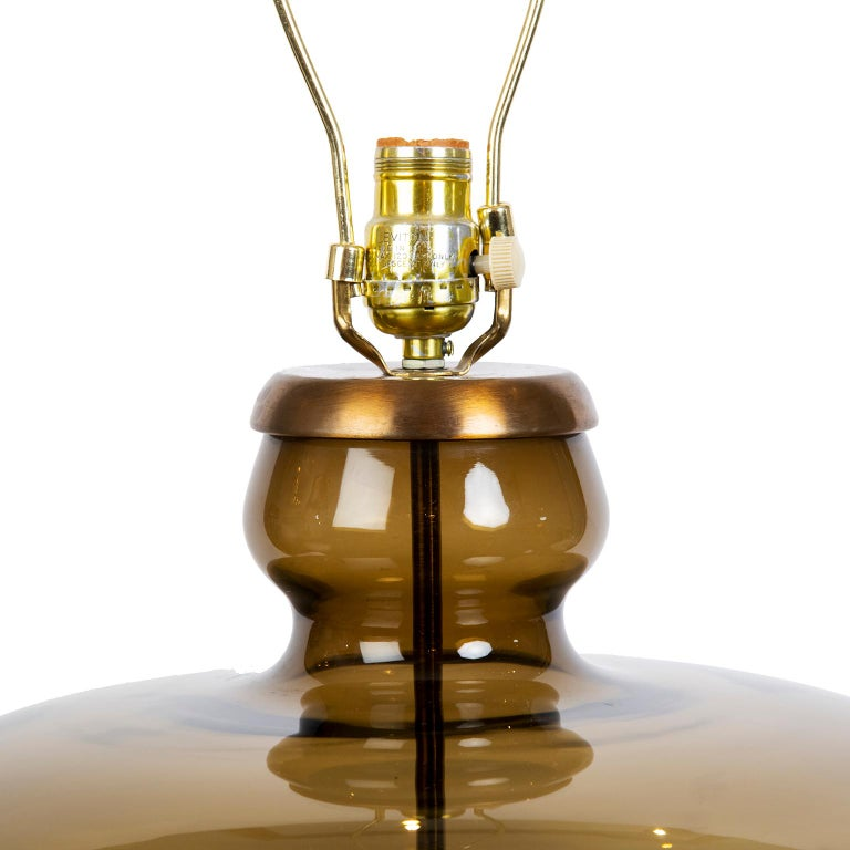 Molded Pair of Large Mid-Century Modern Urn Shaped Smoked Glass Lamps For Sale