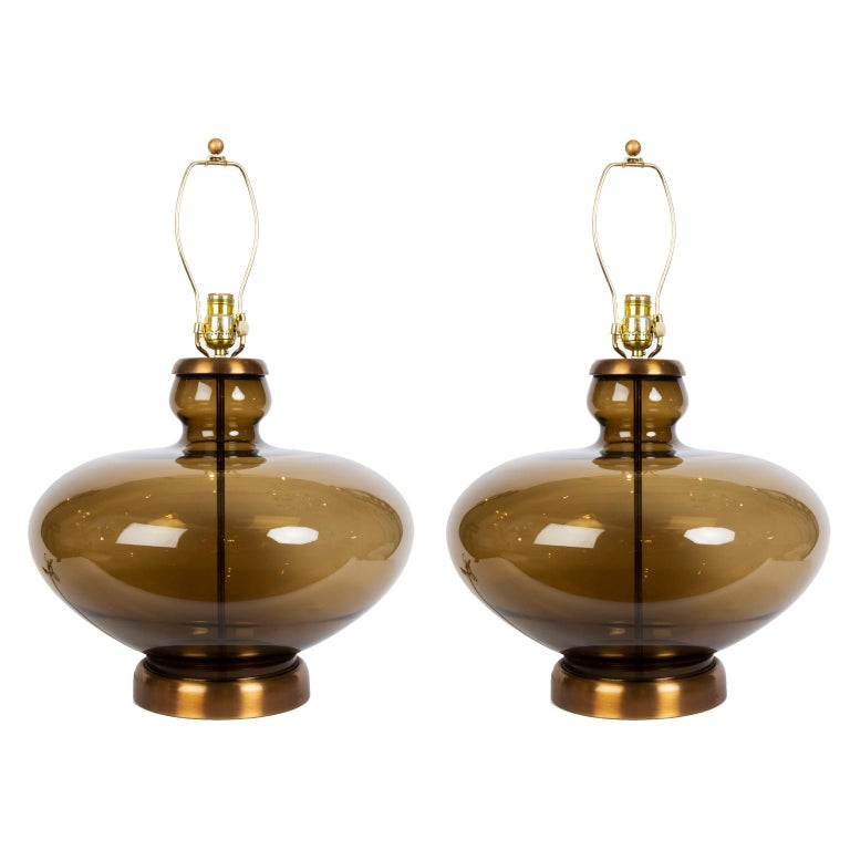 Mid-20th Century Pair of Large Mid-Century Modern Urn Shaped Smoked Glass Lamps For Sale