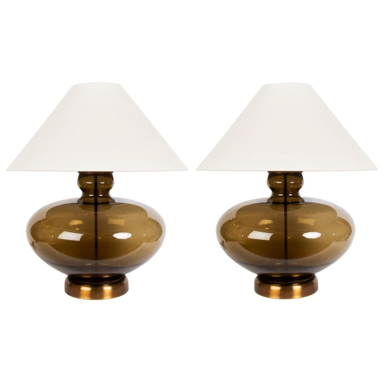 Pair of Large Mid-Century Modern Urn Shaped Smoked Glass Lamps For Sale