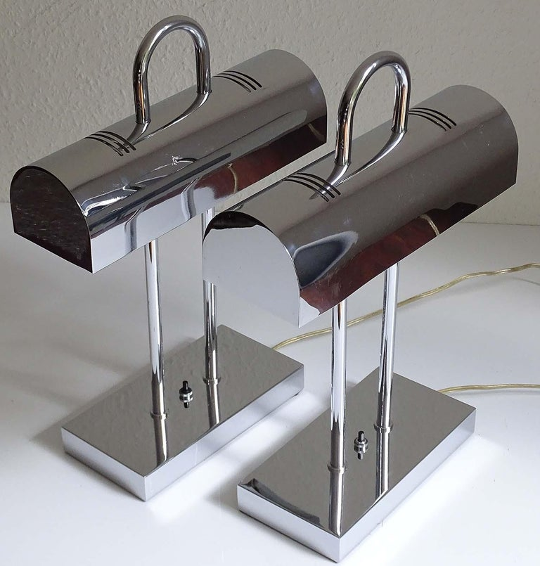 Chrome Pair of Large Mid-Century Modernist Yamada Shomei Desk Table Lamps Lights For Sale