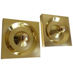 Pair of Large Midcentury Square Brass Kaiser Mirror  Sconces, Gio Ponti Era